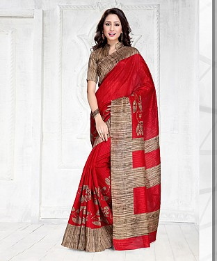 RED GREEN SILK PRINTED SAREE @ Rs1050.00
