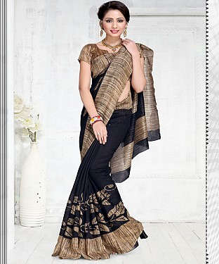 NAVY BLUE GREEN SILK PRINTED SAREE @ Rs1050.00