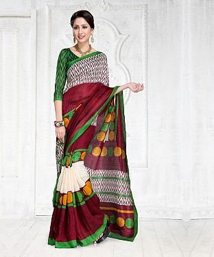 MULTY GREEN SILK PRINTED SAREE @ Rs1050.00
