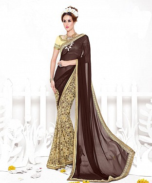 BROWN AND CREAM HEAVY GEORGETTE DESIGNER SAREE @ Rs2100.00