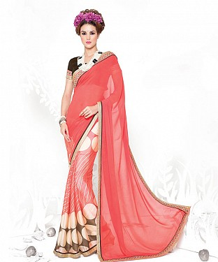 PEACH HEAVY GEORGETTE DESIGNER SAREE @ Rs2100.00