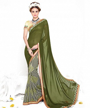 GREEN HEAVY GEORGETTE DESIGNER SAREE @ Rs2100.00