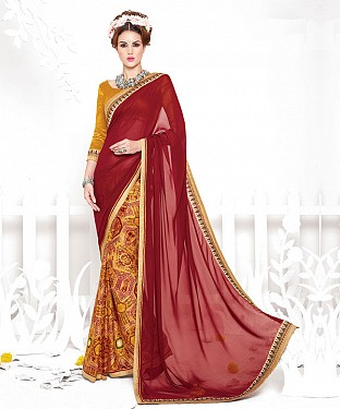 MAROON AND GOLDEN YELLOW HEAVY GEORGETTE DESIGNER SAREE @ Rs2100.00