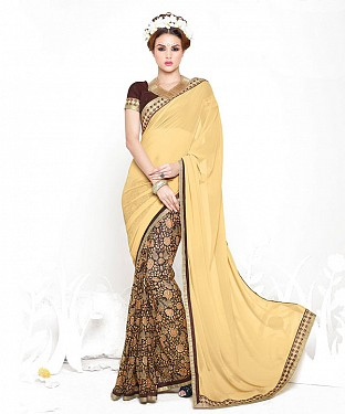 CREAM AND BROWN HEAVY GEORGETTE DESIGNER SAREE @ Rs2100.00