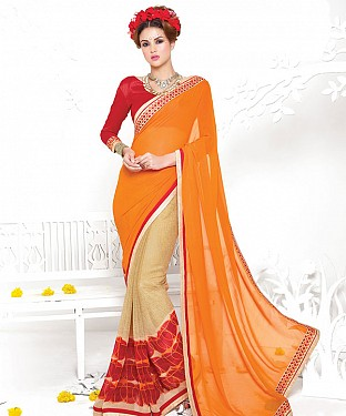 ORANGE AND CREAM HEAVY GEORGETTE DESIGNER SAREE @ Rs2100.00