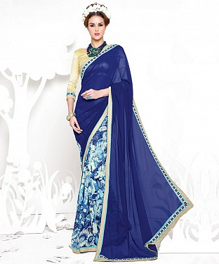 BLUE HEAVY GEORGETTE DESIGNER SAREE @ Rs2100.00