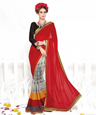 MAROON AND BLACK HEAVY GEORGETTE DESIGNER SAREE @ Rs2100.00