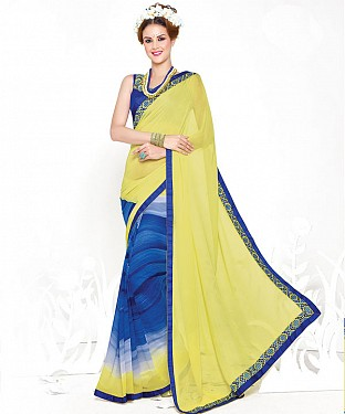 LEMON AND BLUE HEAVY GEORGETTE DESIGNER SAREE @ Rs2100.00