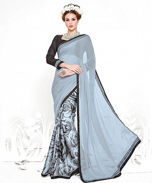 GREY AND BLACK HEAVY GEORGETTE DESIGNER SAREE @ Rs2100.00