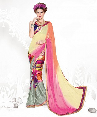 MULTI RAINBOW HEAVY GEORGETTE DESIGNER SAREE @ Rs2100.00