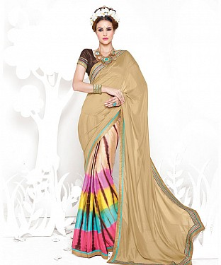 CREAM AND RAINBOW HEAVY GEORGETTE DESIGNER SAREE @ Rs2100.00