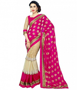 PINK HEAVY GEORGETTE DESIGNER SAREE @ Rs1112.00