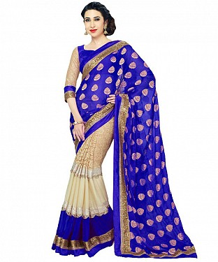 BLUE HEAVY GEORGETTE DESIGNER SAREE @ Rs1112.00