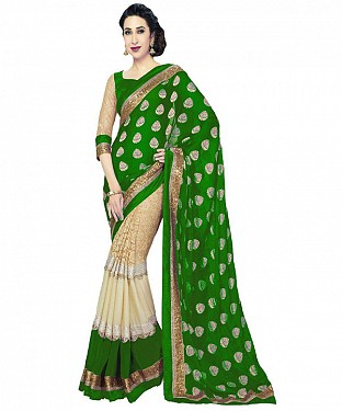 GREEN HEAVY GEORGETTE DESIGNER SAREE @ Rs1112.00