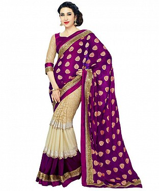 PURPLE HEAVY GEORGETTE DESIGNER SAREE @ Rs1112.00