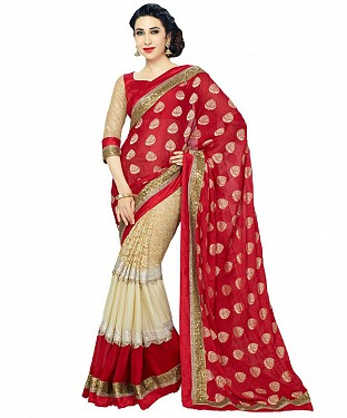 RED HEAVY GEORGETTE DESIGNER SAREE @ Rs1112.00