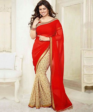 Red And Cream Printed Saree @ Rs1112.00