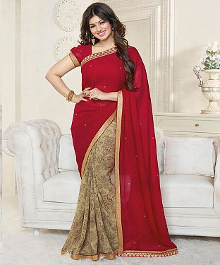 Maroon And Beige Printed Saree @ Rs1112.00