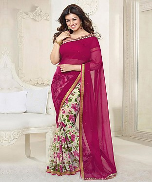 Wine Pink And White Printed Saree @ Rs1112.00