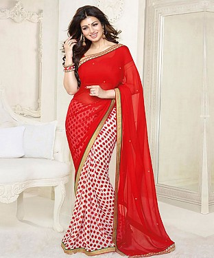 Red And White Printed Saree @ Rs1112.00