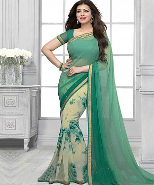 Aqua And Off White Printed Saree @ Rs1112.00
