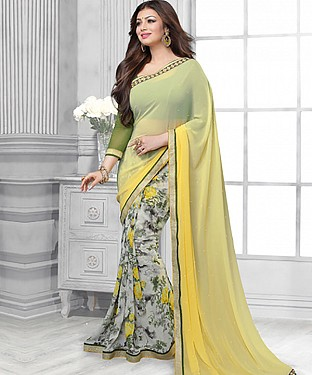 Light Yellow And Off White Printed Saree @ Rs1112.00