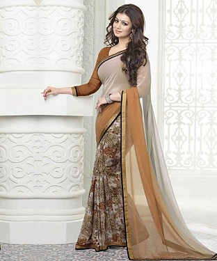 Off White And Beige Printed Saree @ Rs1112.00