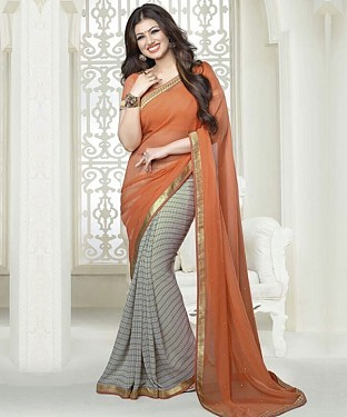Orange And Grey Printed Saree @ Rs1112.00