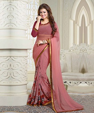 Pink Printed Saree @ Rs1112.00