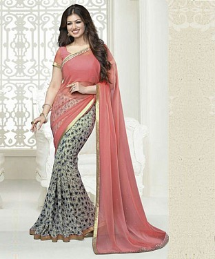 Pink And Grey Printed Saree @ Rs1112.00