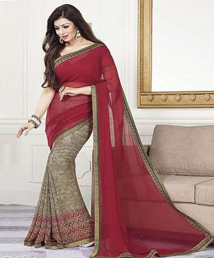 Maroon Printed Saree @ Rs1112.00