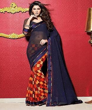 Navy Blue And Orange Printed Saree @ Rs1112.00