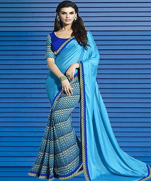 Sky Blue And Blue Printed Saree @ Rs1112.00