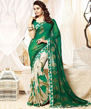 Green And Off White Printed Saree@ Rs.1112.00