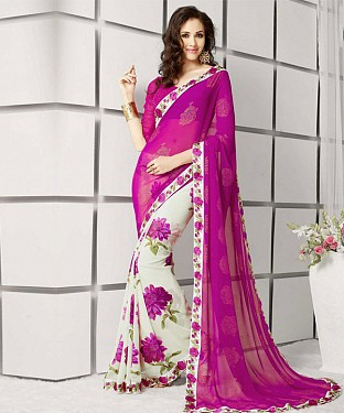 Pink And White Printed Saree@ Rs.1112.00