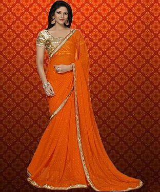Orange Plain Saree @ Rs1359.00
