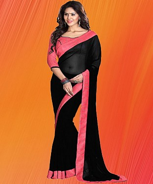 Black And Pink Plain Saree @ Rs1112.00
