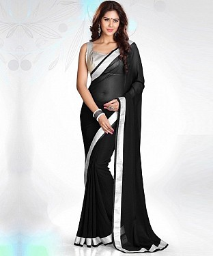 Black Plain Saree @ Rs1112.00