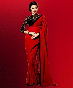 Red And Black Plain Saree @ Rs1050.00