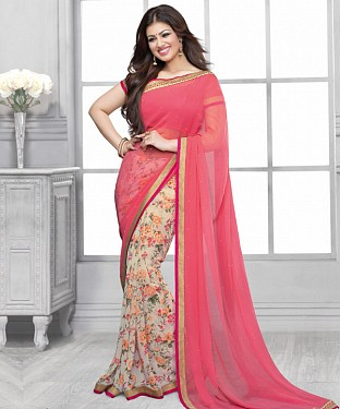 Light Pink And White Printed Saree @ Rs1112.00