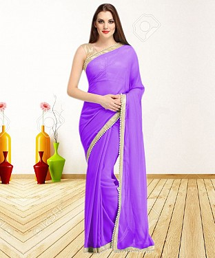 PURPLE CASUAL DESIGNER SAREE @ Rs1050.00
