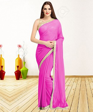PINK CASUAL DESIGNER SAREE @ Rs1050.00