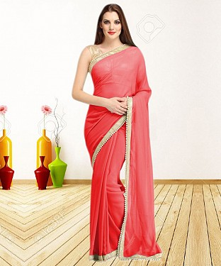 RED CASUAL DESIGNER SAREE @ Rs1050.00