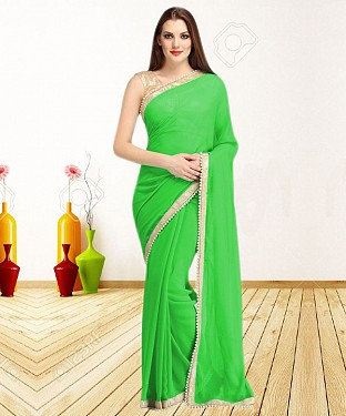 GREEN CASUAL DESIGNER SAREE @ Rs1050.00