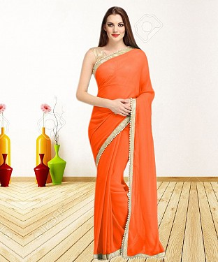 ORANGE CASUAL DESIGNER SAREE @ Rs1050.00