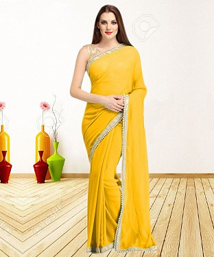 YELLOW CASUAL DESIGNER SAREE @ Rs1050.00