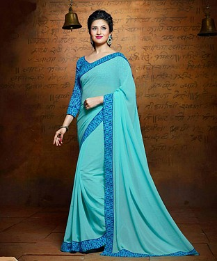 SKY EMBROIDERY GEORGETTE SAREE @ Rs1235.00