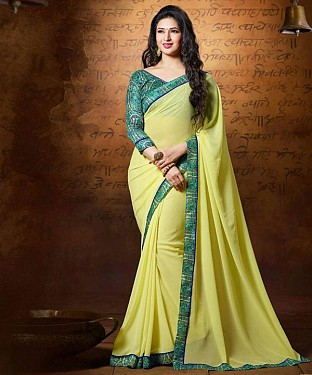 YELLOW EMBROIDERY GEORGETTE SAREE @ Rs1235.00
