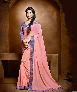 PINK EMBROIDERY GEORGETTE SAREE @ Rs1235.00