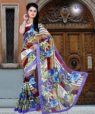 MULTY PRINTED GEORGETTE SAREE @ Rs864.00